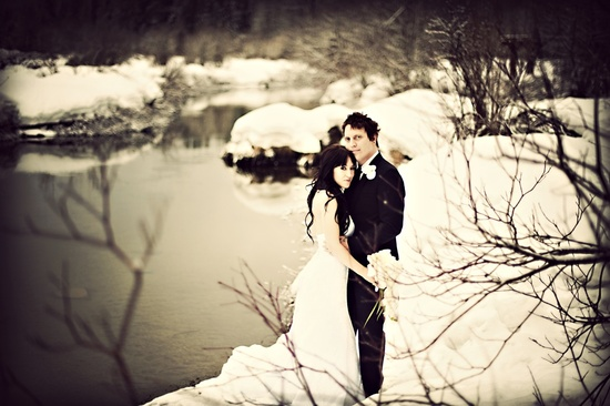 winter wedding photography edgy bride groom portrait