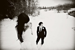 photo of outdoor winter wedding photography long wedding hair all down
