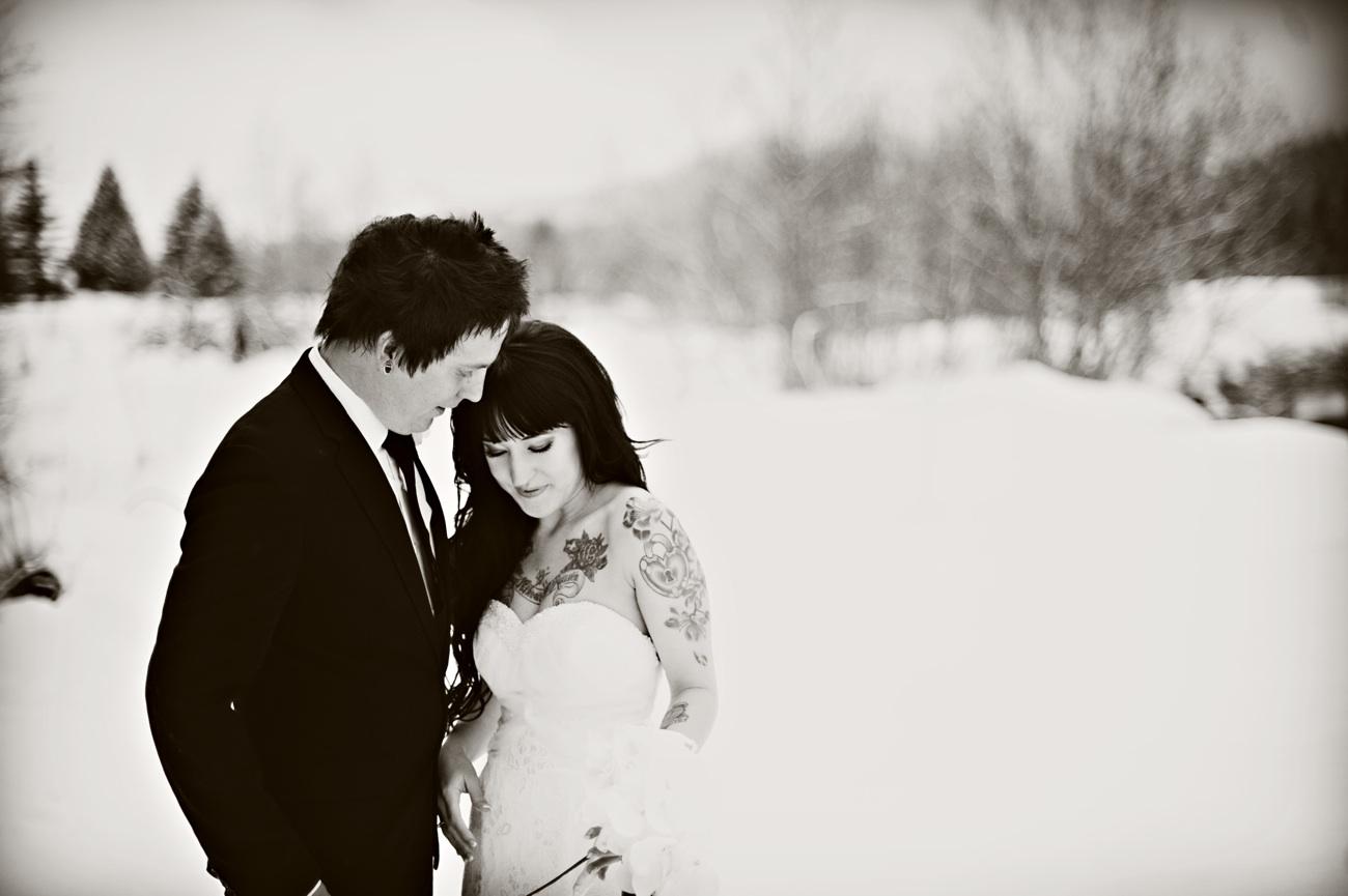 Outdoor Winter Wedding Photography Bride Groom
