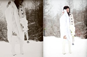photo of winter wedding offbeat bride wears fur white boots