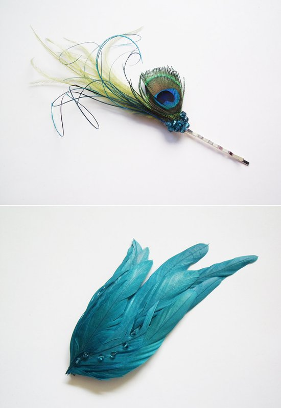photo of Buds and Blooms turquoise feather bridal fascinators