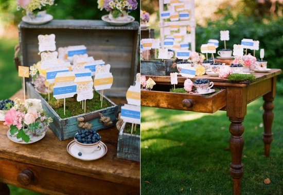 Creative wedding reception idea for escort card tablescape