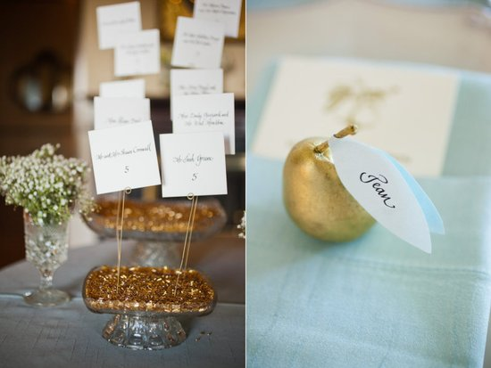 photo of creative escort cards wedding reception ideas gold turquoise