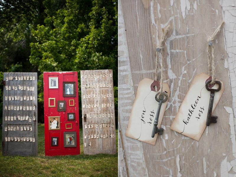 Creative wedding reception ideas escort cards on vintage for Creative old door ideas