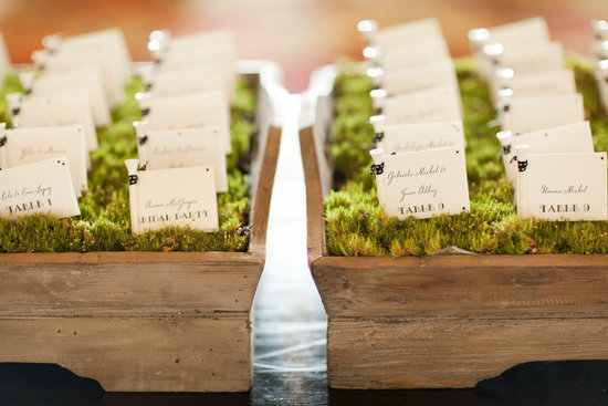 Eco-friendly & creative wedding reception escort card idea