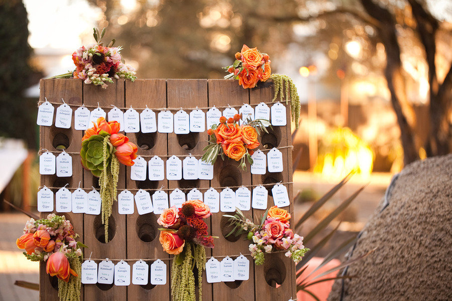 Fall wedding reception display for escort cards
