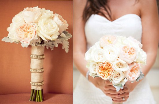 romantic outdoor wedding spring summer ivory peach wedding flowers bridal bouquet