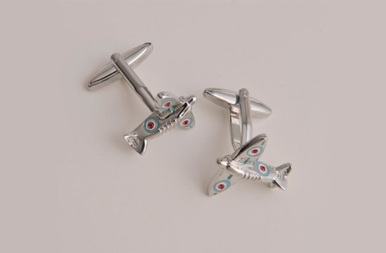 photo of Spitfire Airplane Cufflinks with Personalized Case