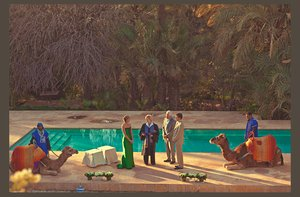 photo of desert wedding offbeat wedding style casual outdoor wedding poolside