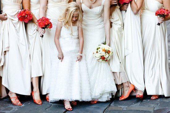 white bridesmaids dresses 2012 wedding trends orange wedding flowers