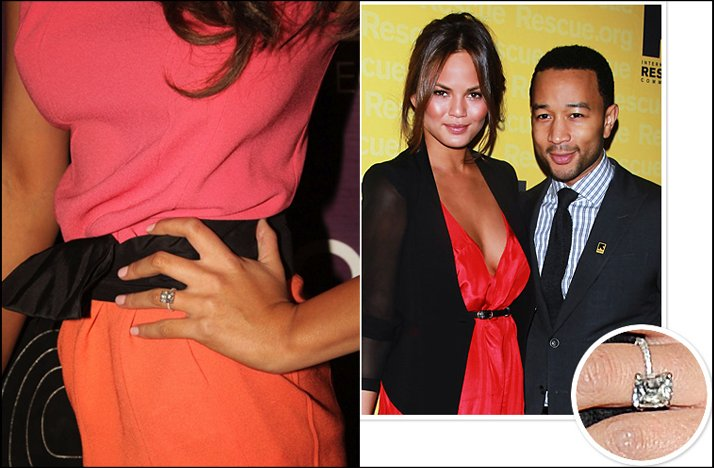 celebrity engagement rings john legend emerald cut