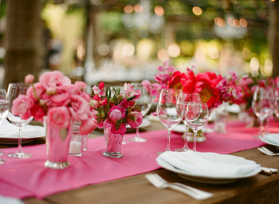photo of pink wedding reception decor wedding flower centerpieces