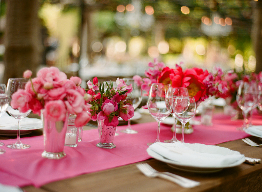 pink wedding reception decor wedding flower centerpieces | OneWed.