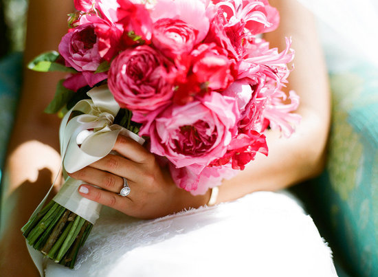 pink bridal bouquet bright