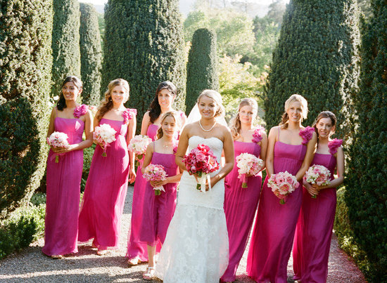 bride with bridesmaids pink long dresses