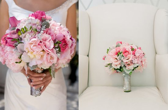 romantic spring bridal bouquet pink wedding flowers