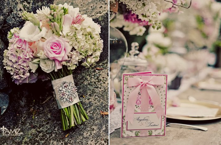 romantic pink wedding flowers bridal bouquet