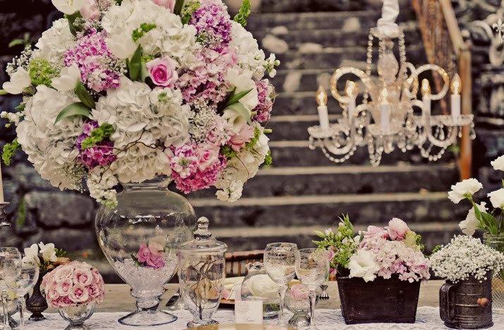 Romantic Pink Wedding Flowers Reception Topiary