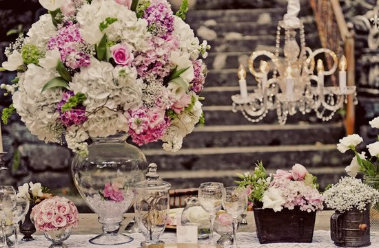 romantic pink wedding flowers reception topiary