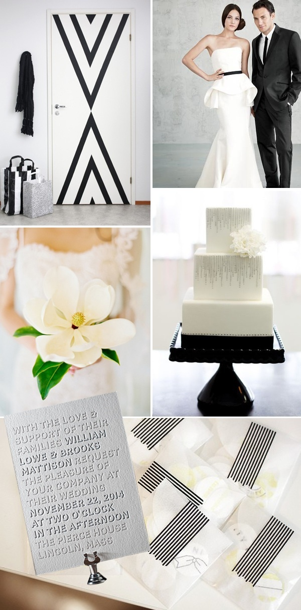 modern black white wedding color palette