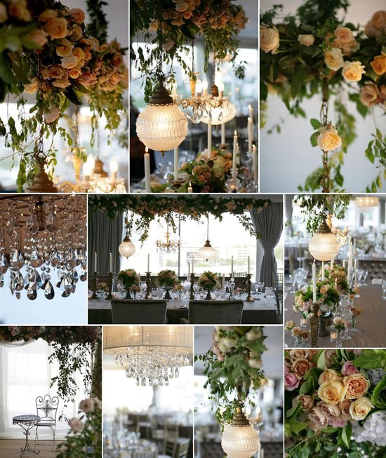 elegant hanging wedding reception decor flowers centerpieces chandeliers