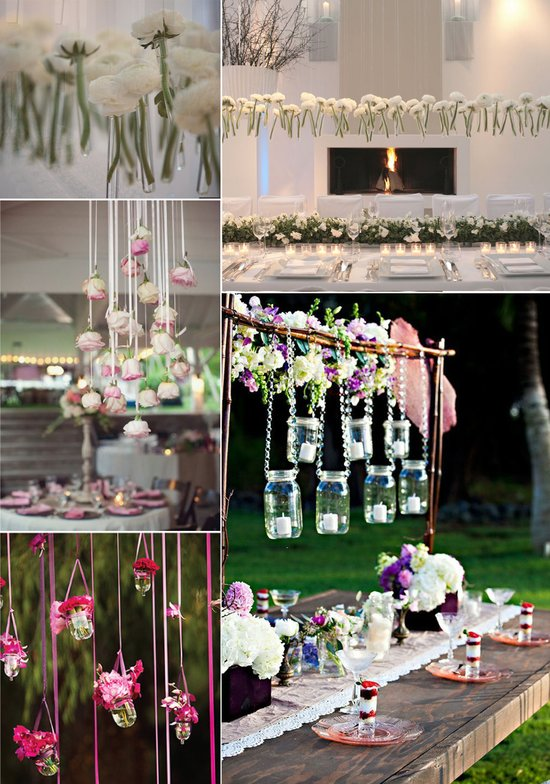 unique wedding flower ideas hanging centerpieces