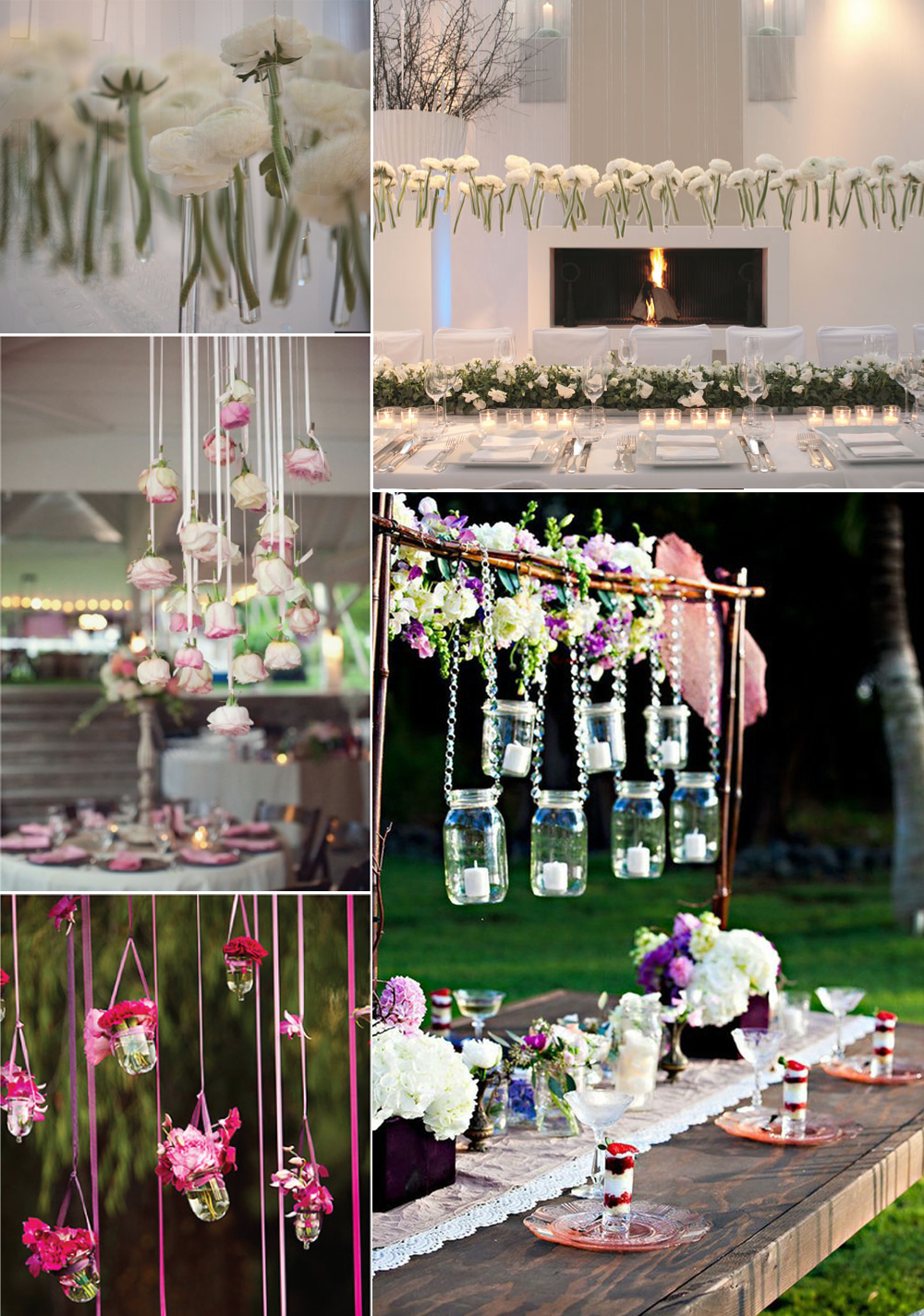 Unique wedding flower ideas hanging centerpieces for Floral wedding decorations ideas