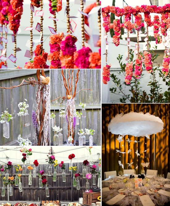 bright wedding flowers floating ceremony arbor reception centerpieces