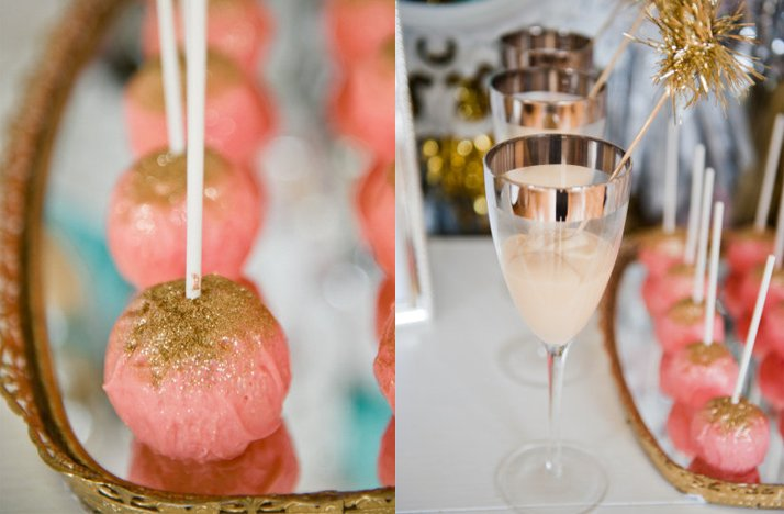 pink gold wedding reception decor cocktails sweets
