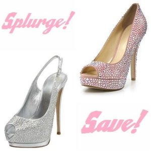 photo of Splurge Vs. Save: Blingin' Rhinestone Wedding Pumps