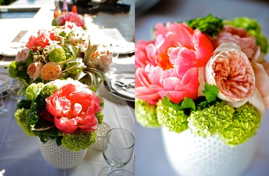 hot pink peony green wedding flowers