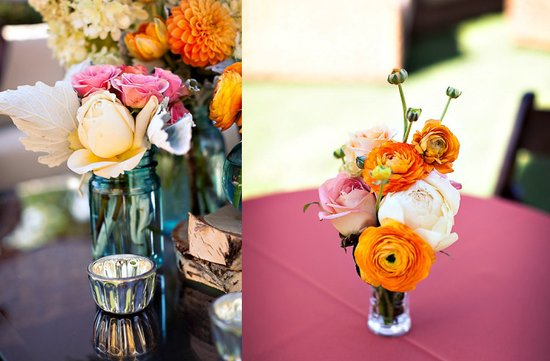 photo of whimsical orange ivory wedding centerpiece