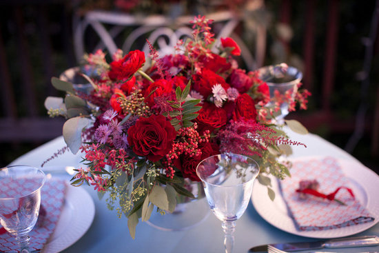 romantic red rose wedding flower centerpiece