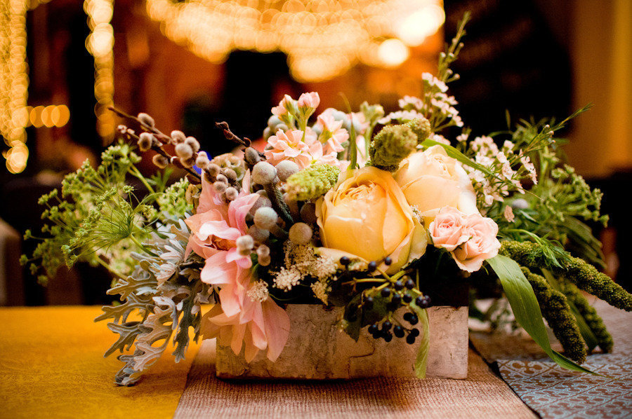 romantic rustic wedding reception centerpiece