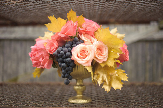 winery wedding bright reception centerpiece gold vase