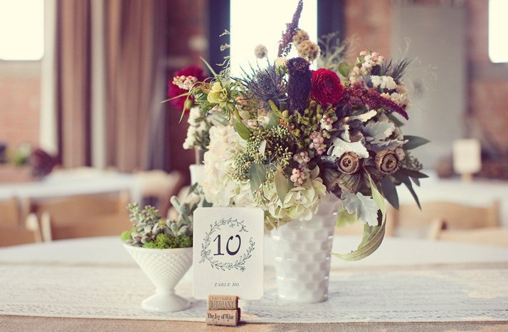 Stunning Wedding Centerpiece Fall Flowers Winery Venue
