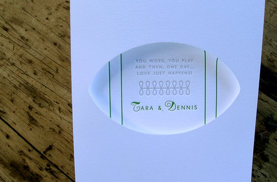 Classic white letterpress wedding invitation with a touch of football inspiration