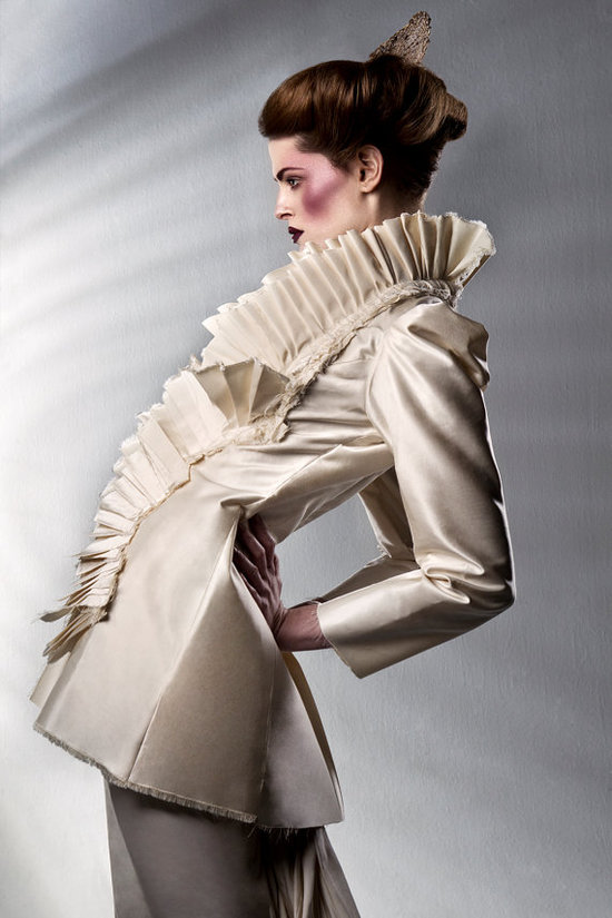 Haute couture pleated bridal coat