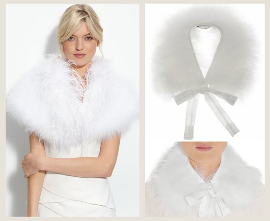 splurge save wedding accessories bridal feather cape
