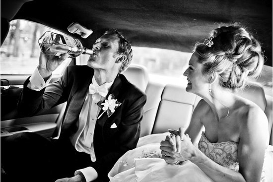 Memorable wedding photo: Pre-gaming bride and groom
