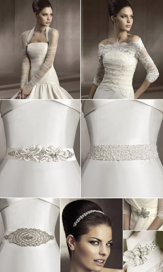 2012 bridal hair accessories and wedding dress sashes by Pronovias