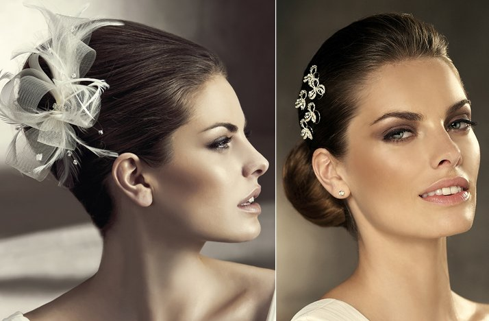 2012 wedding hair accessories bridal hairstyles pronovias feathers barrets