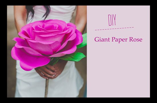 photo of Wedding DIY: Whimsical Giant Rose Paper Flower Bouquet