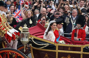 photo of royal wedding up close exit ceremony in horse drawn carriage