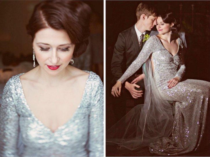 Silver-wedding-dress-v-neck-vintage-bride.full