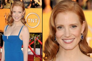 photo of bridal beauty from 2012 sag awards wedding hair makeup jessica chastain