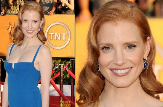 bridal beauty from 2012 sag awards wedding hair makeup jessica chastain