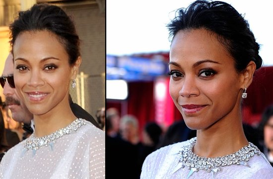 bridal beauty from 2012 sag awards wedding hair makeup zoe saldana
