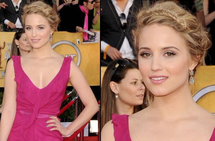 bridal beauty from 2012 sag awards wedding hair makeup Dianna Agron