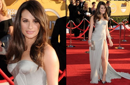 bridal beauty from 2012 sag awards wedding hair makeup lea michelle